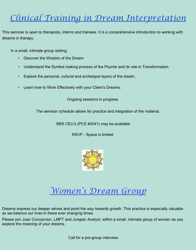 Groups Workshops Dreams Therapy Dream Interpretation Therapist Counselor